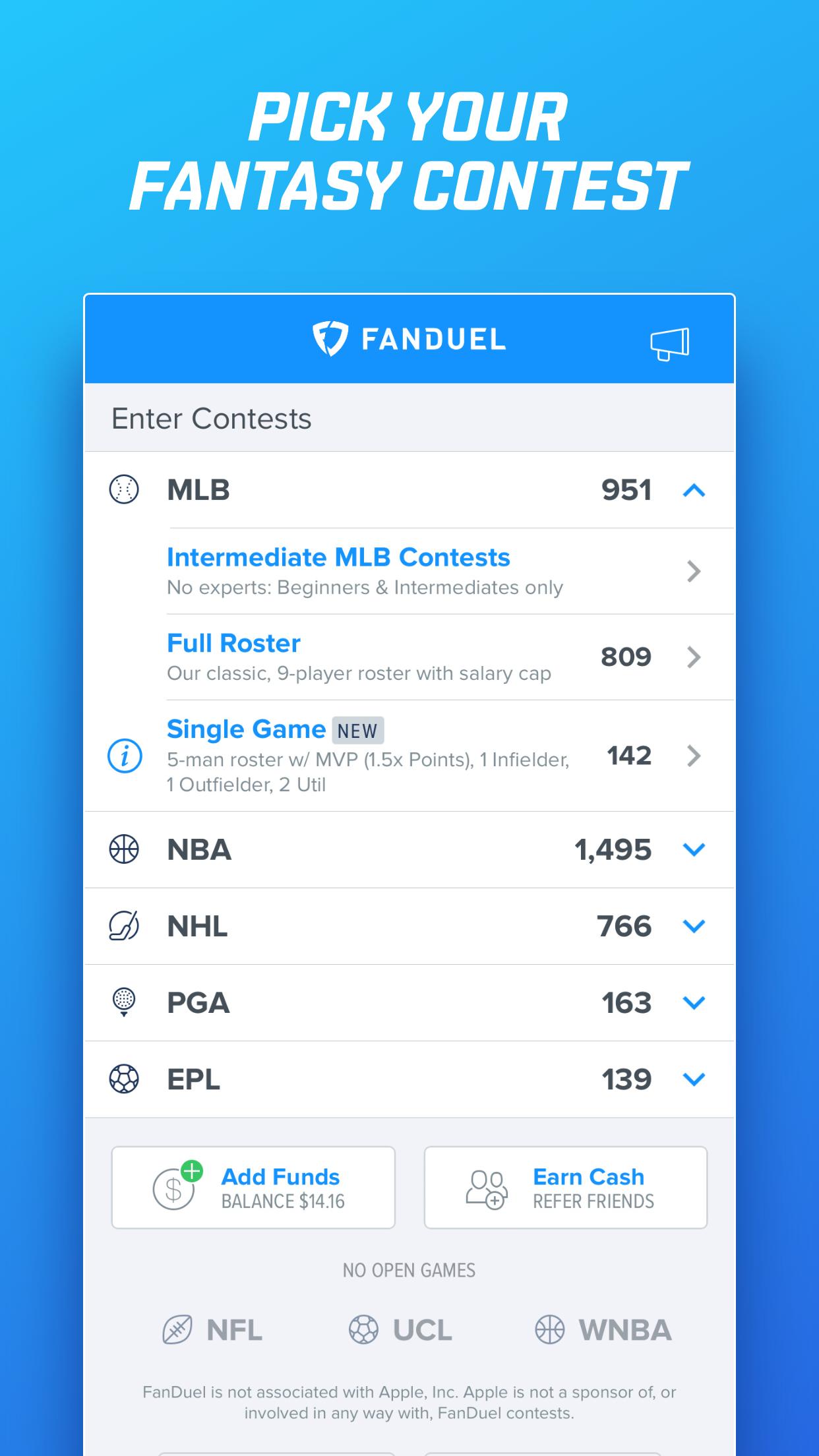 FanDuel Daily Fantasy Football Screenshot
