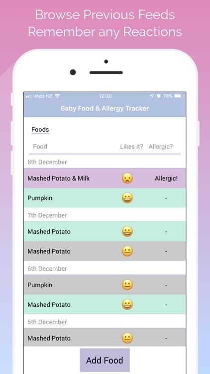 Baby Food & Allergy Tracker