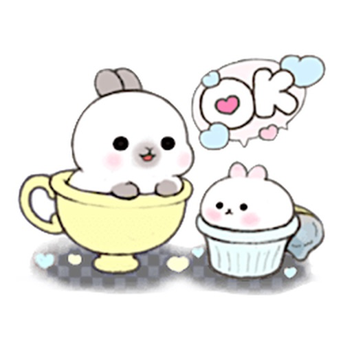 Cute Bunny in The Cup Sticker