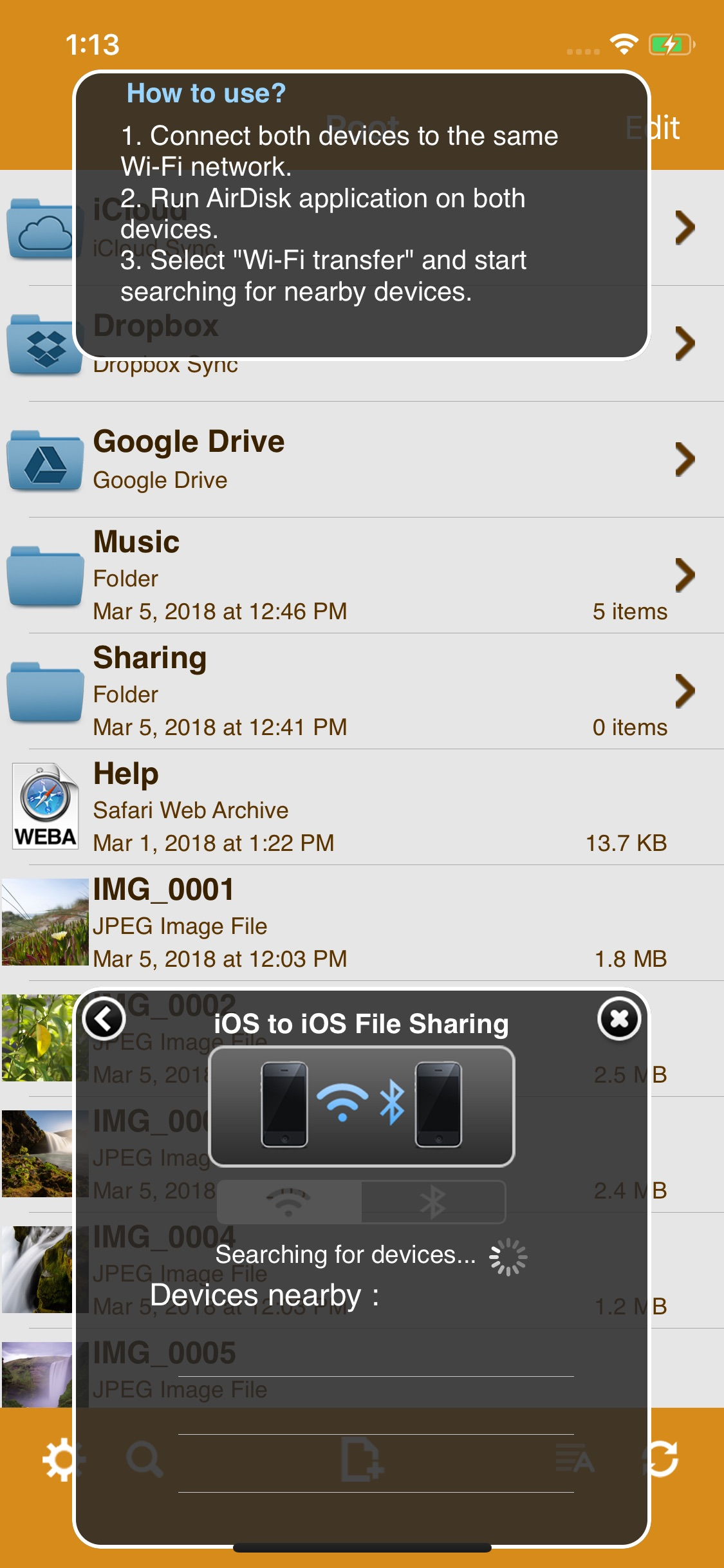 Screenshot do app AirDisk Pro