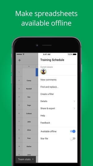 Hojas de cálculo de Google en App Store