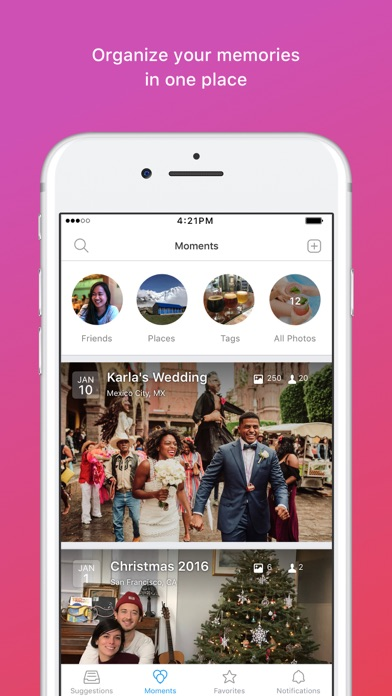 Moments–private shared albums Screenshot on iOS