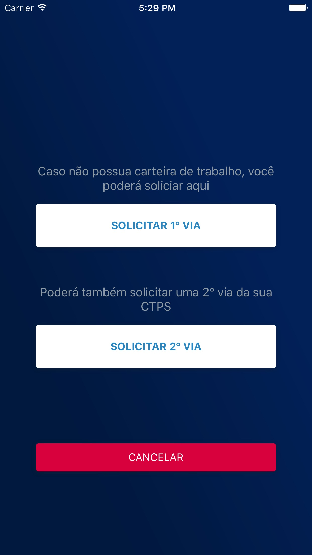 Screenshot do app CTPS Digital