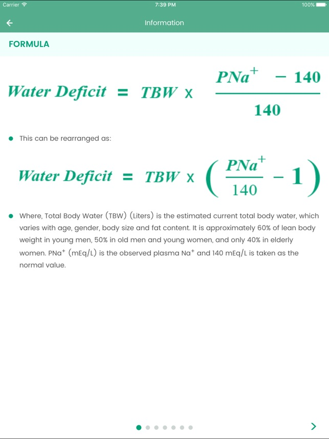 Body water calculator