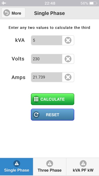 kVA Calculator iPhone