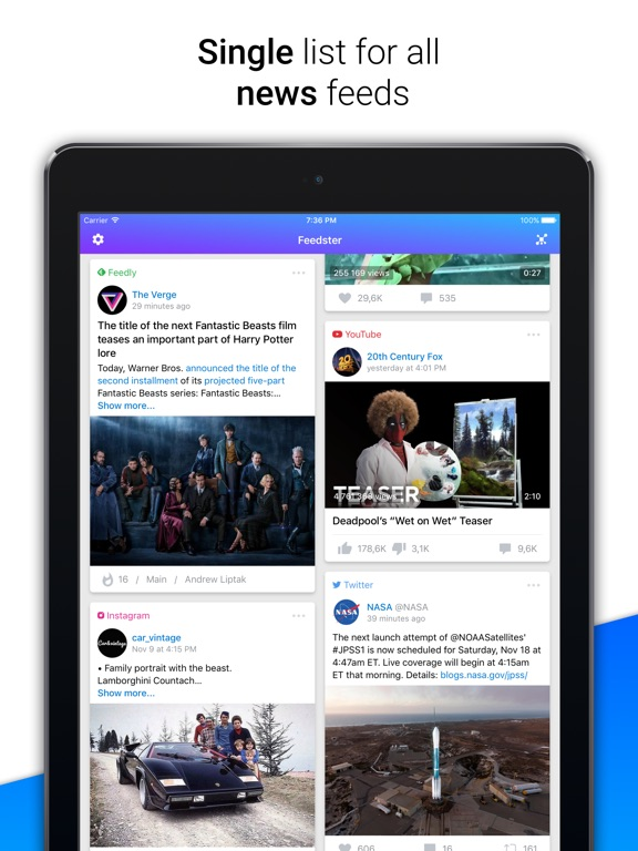 Feedster: News aggregator Screenshots