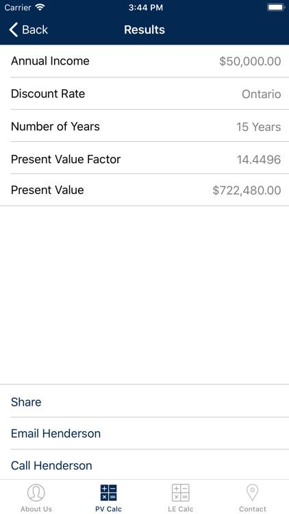 Henderson Present Value Calc
