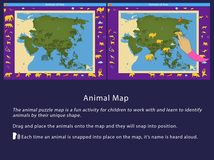 Animals of Asia - Montessori Geography For Kids screenshot-4