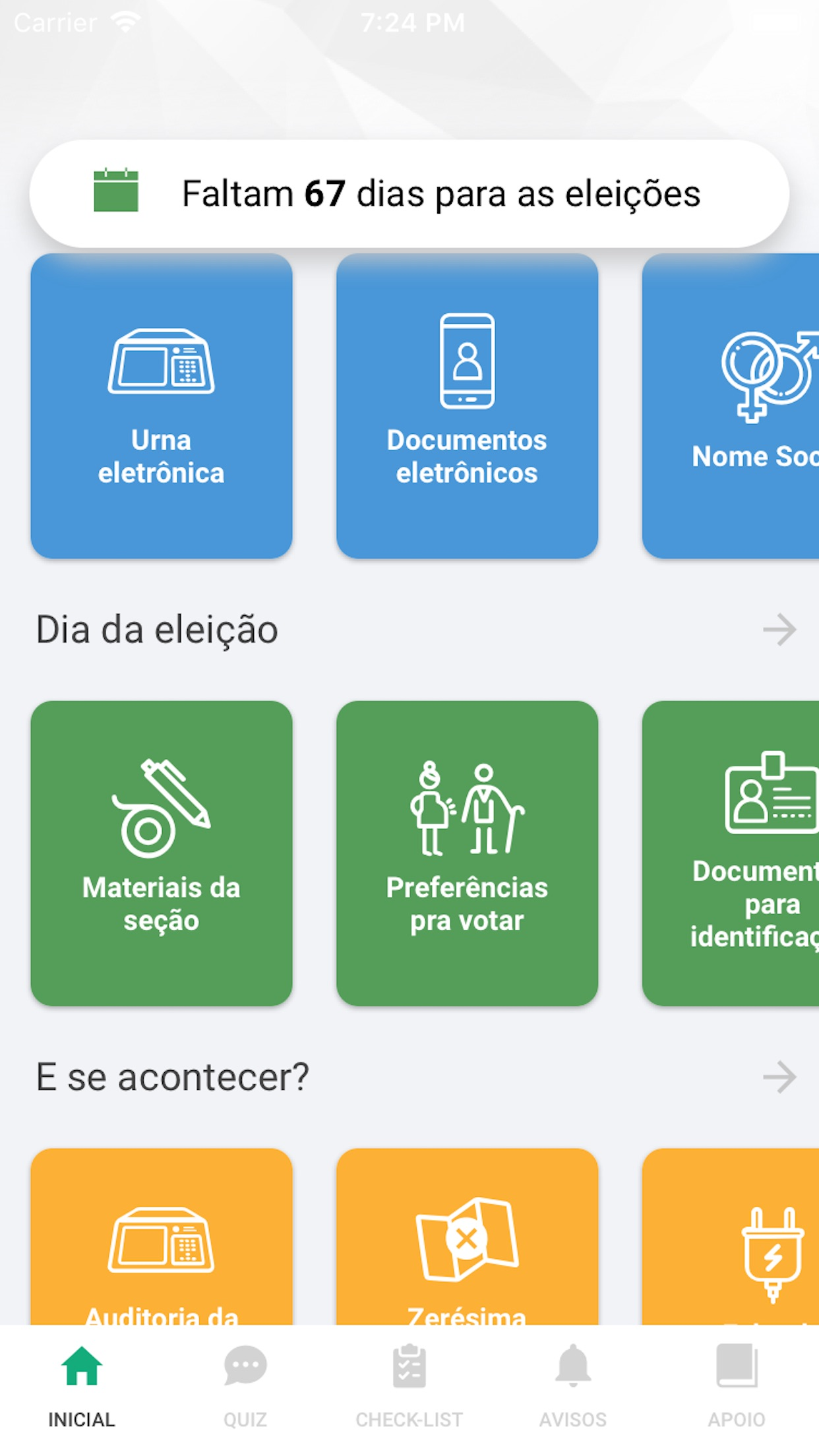 Screenshot do app Mesário