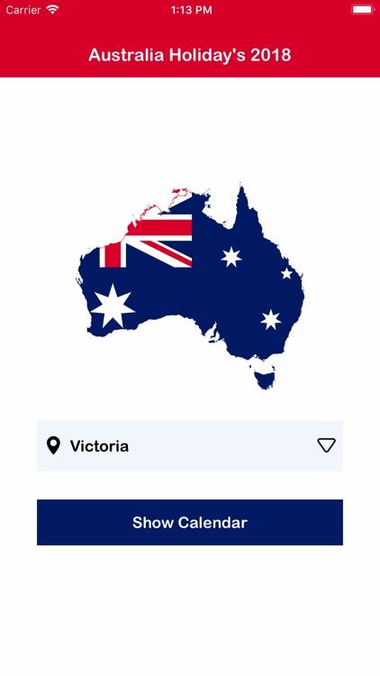 Australia Calendar 2018