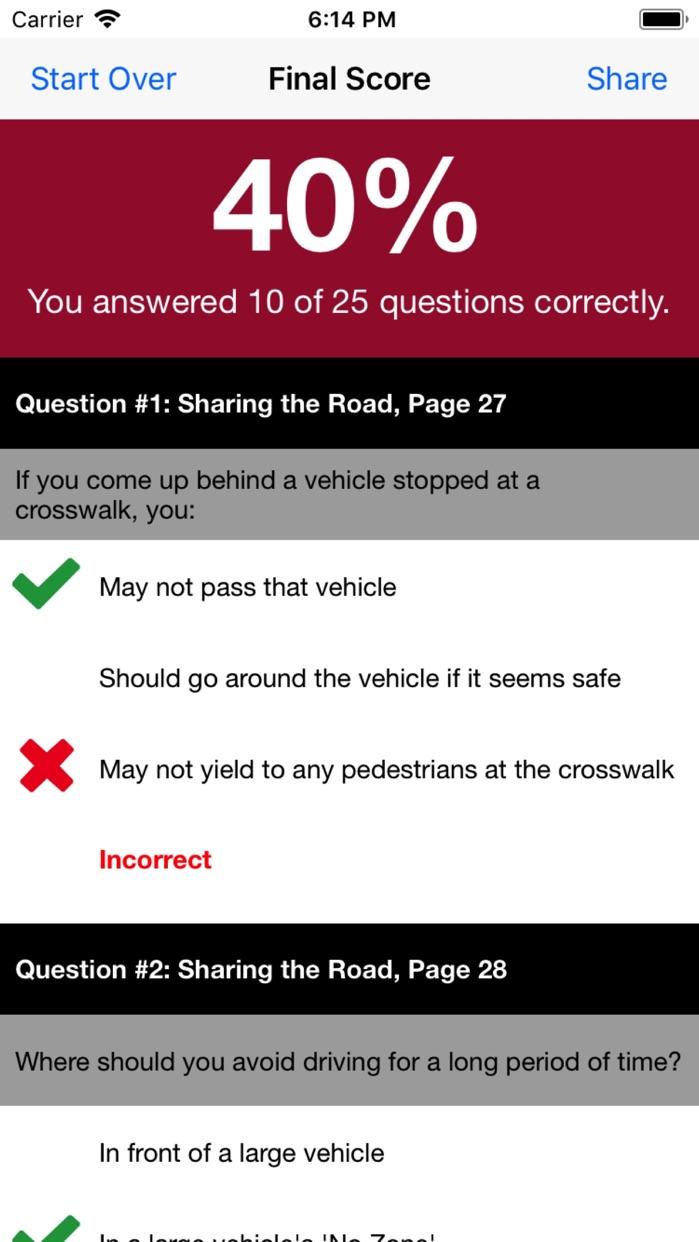 MD Practice Driving Test Screenshot