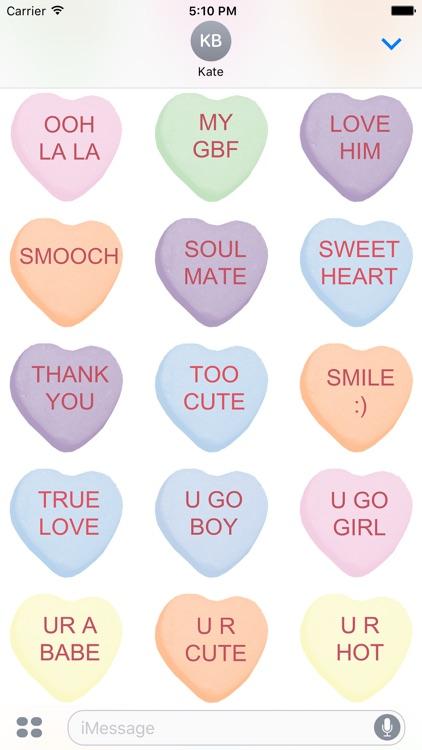 Candy Hearts 1 Stickers screenshot-3