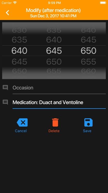 PEF Log - asthma tracker screenshot-6