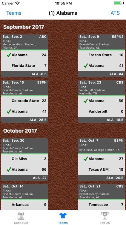 College FB Scores & Schedules