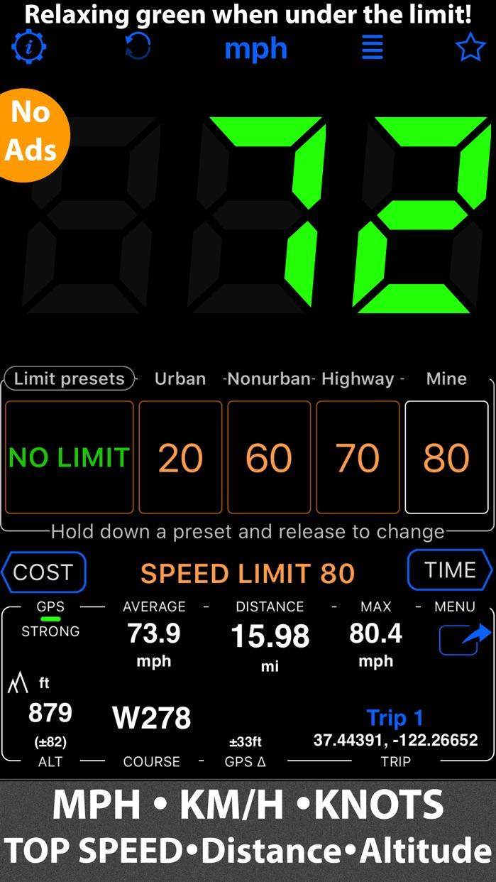 Speedometer 55 Start. GPS Box. Screenshot