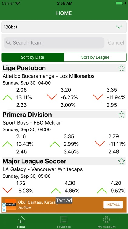 Changes in Bet Odds