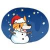 Merry Xmas Corgi Dog Sticker