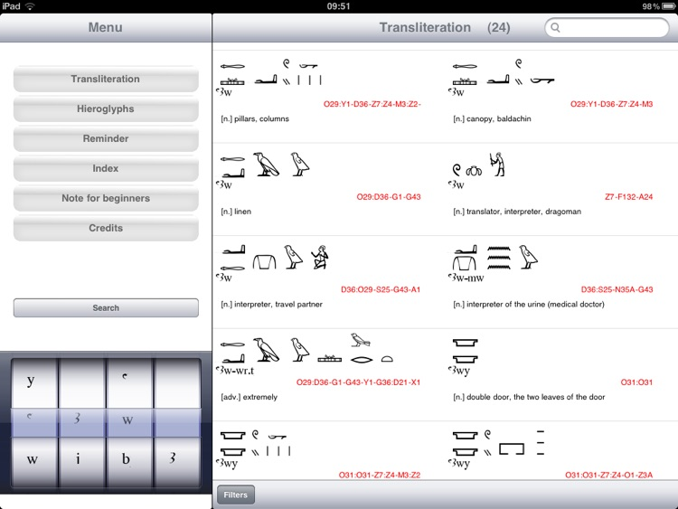 Hieroglyphic Dictionary Aaou
