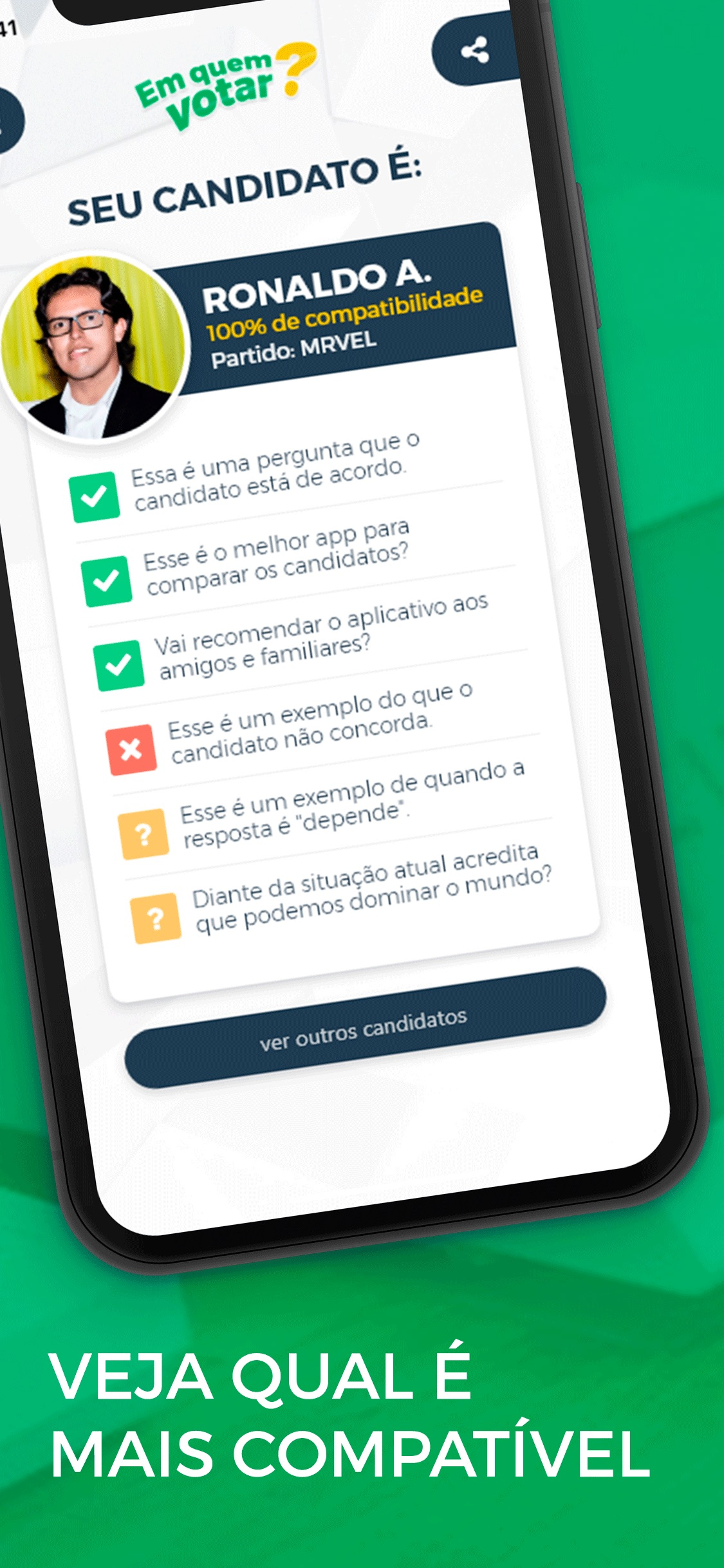Screenshot do app Em quem votar?