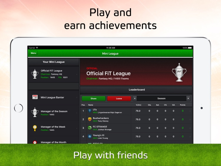Soccerway Fantasy iTeam for iPad