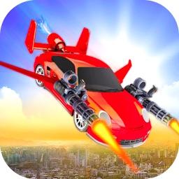 Flying Car Shooting Chase: Air Stunt Simulator