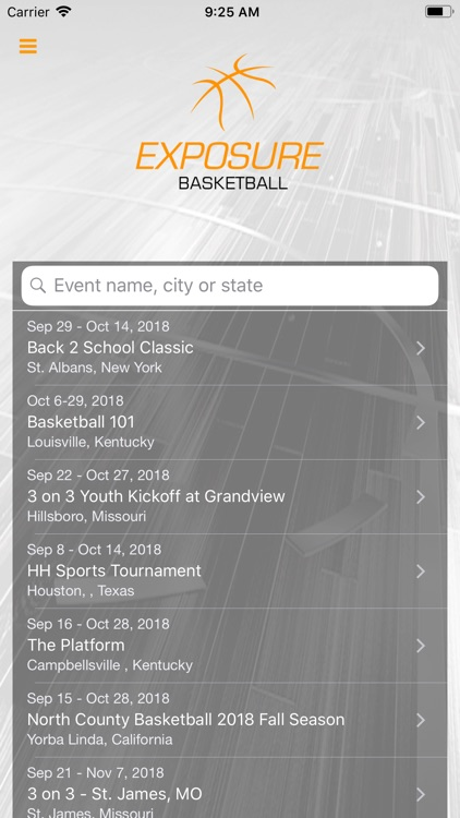 Exposure Basketball Events