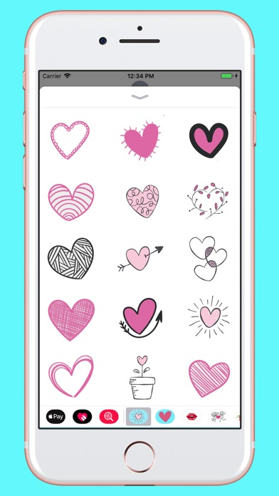 Screenshot for Hand drawn valentine hearts in Pakistan App Store