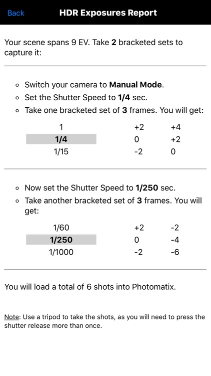 HDR Exposures Calculator