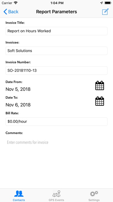 Screenshot of Simple Consultant App
