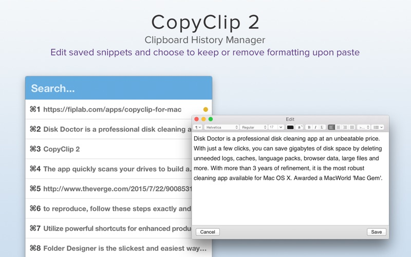 CopyClip 2 - Clipboard Manager Screenshots