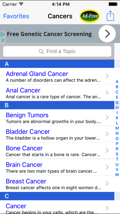Cancer Guide: Prostate, Breast, Lung, Pancreatic screenshot one