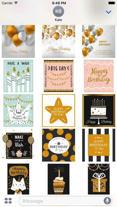 Birthday Card - Collection of Gold Style Stickers screenshot 4