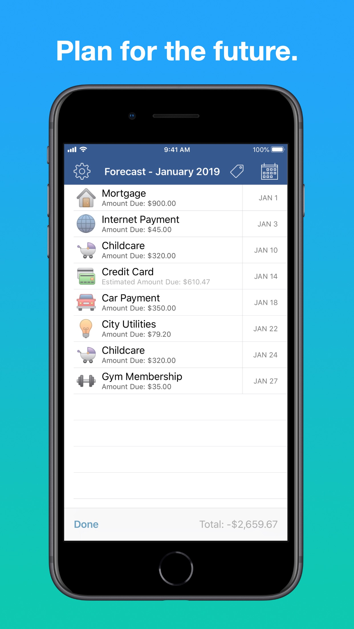 Screenshot do app Chronicle - Bill Manager