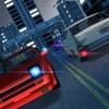 夜の都市交通の車の運転、駐車場のキャリアシミュレーション