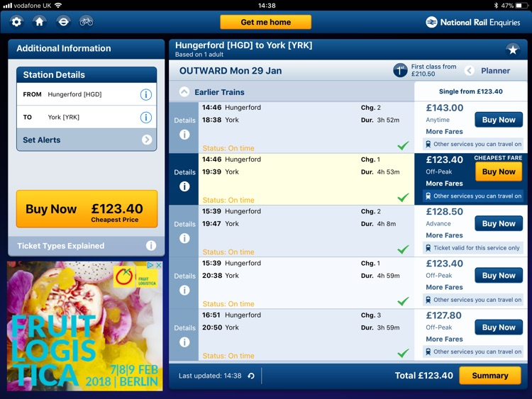 NationalRail Enquiries - iPad screenshot-0
