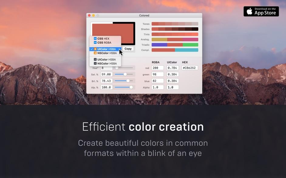 Colored for Mac 1.2.2 破解版 - 调色板工具