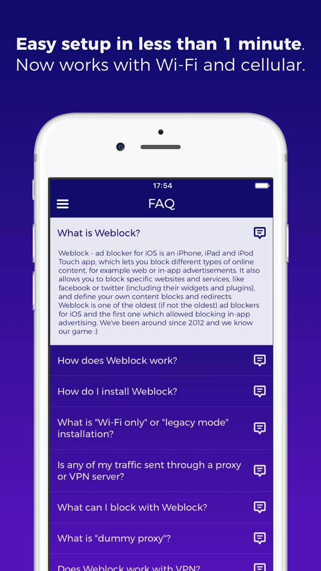 Weblock - proxy ad blocker Screenshot