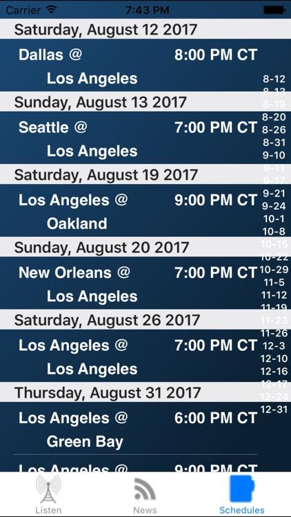 Los Angeles C Football Live - Radio, Schedule