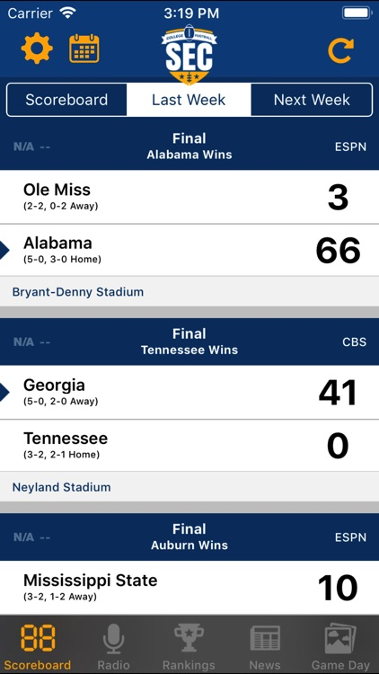 SEC Football Scores screenshot-0