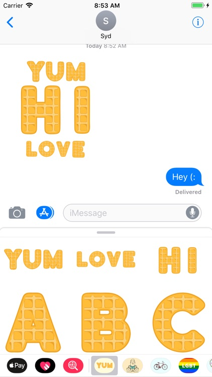 Tasty Waffle Alphabet Stickers