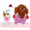 Red Poodle Dog Lady Sticker