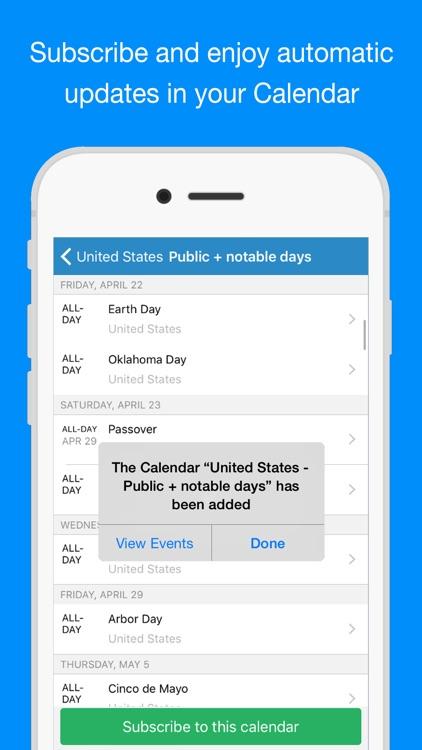Bank Holiday Calendars