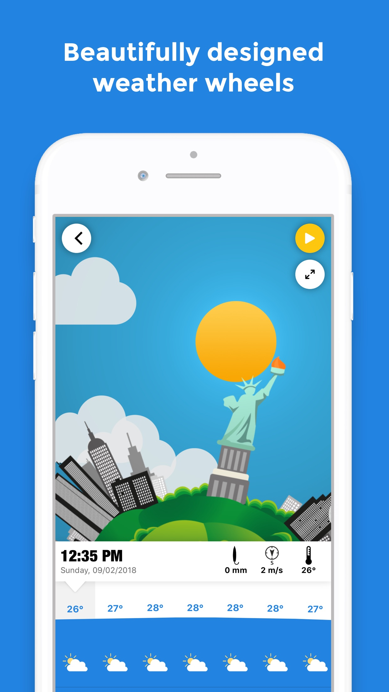 Screenshot do app WeatherWheel: Alerts, Forecast