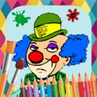 Clowns paint coloring book icon