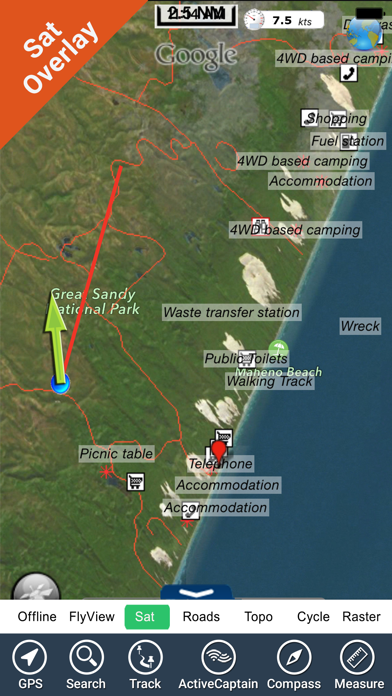 Fraser Island NP -GPS and outdoor map with guide screenshot one