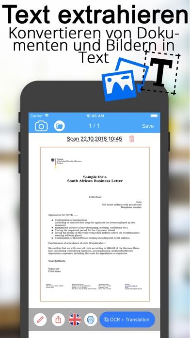 Scanner Dokumenten übersetzerScreenshot von 3