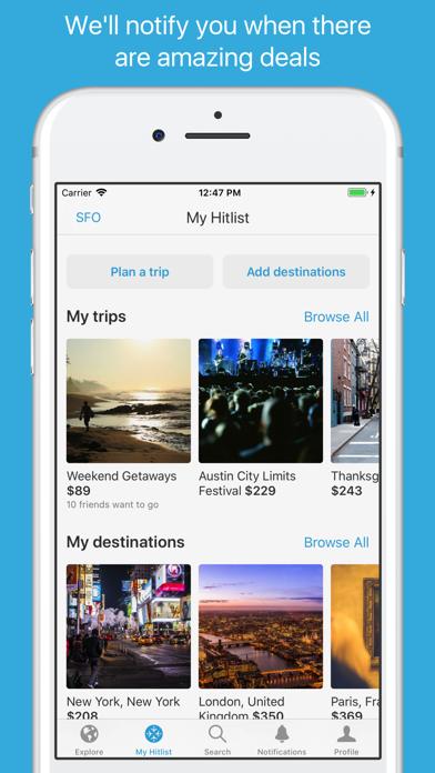 Hitlist - Cheap Flight Deals, Airline Tickets and Last Minute Flights screenshot