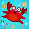 子供7言語でカウント学ぶためのゲーム:数字を英語で1から20までをカウントするために学び、中国語、ロシア語、ドイツ語、スペイン語、フランス語、スウェーデン語、魚、海、海、カメ - iPhoneアプリ