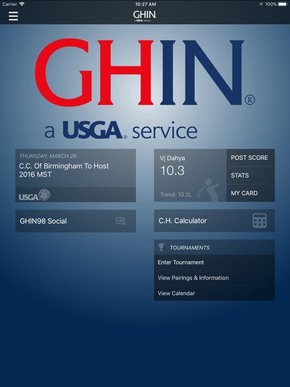 GHIN Mobile iPad
