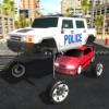 トランジット上昇警察の車のトラフィックラッシュコップチェイス